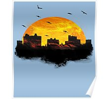 Sunset over city skyline - Birds Poster