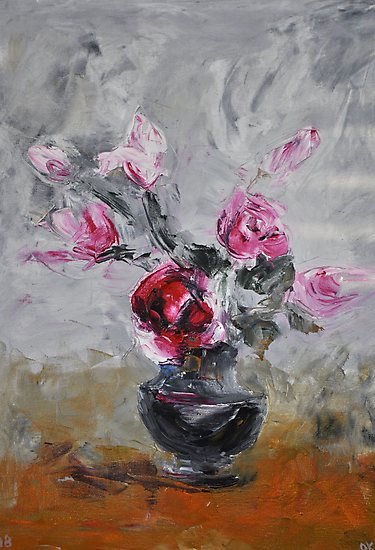 Roses in black vase by Stella  Shube As