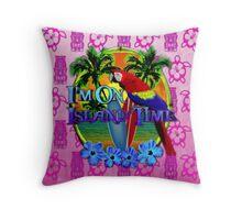 Island Time Pink Tiki Throw Pillow