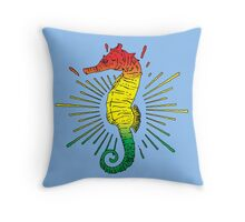 Seahorse with Reggae Music Flag Colors! Throw Pillow