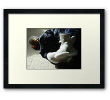 Domestic Bliss (dog at mistress' feet with toy)  Framed Print