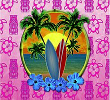 Pink Surfing Sunset Tiki by BailoutIsland