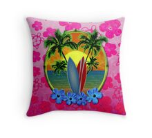 Pink Surfing Sunset Honu Throw Pillow
