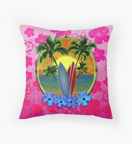 Pink Surfing Sunset Honu Throw Pillow