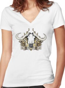 Buffalo Skull and Engraved Floral Detail - V2 Women's Fitted V-Neck T-Shirt