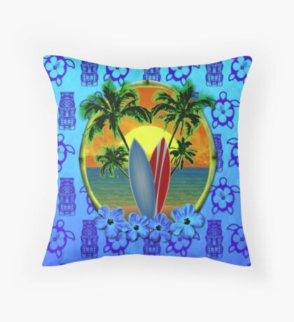 Blue Surfing Sunset Tiki Throw Pillow