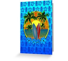Blue Surfing Sunset Tiki Greeting Card