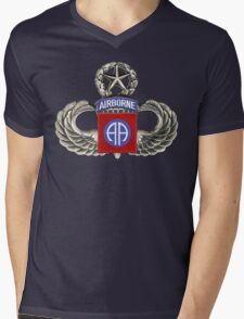 82nd Airborne Division Patch with Jumpwings. Mens V-Neck T-Shirt