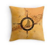 Florida Keys Map Compass Throw Pillow