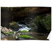 Water cascading over rocks Poster