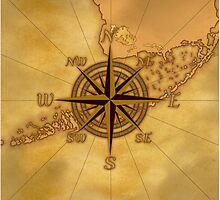 Vintage Compass Rose by BailoutIsland