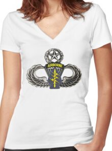 Special Forces patch on Master Jump Wings Women's Fitted V-Neck T-Shirt