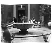 Fountain in Nelson Atkins Museum, Black and White Poster
