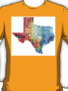 Texas Map - Counties By Sharon Cummings T-Shirt