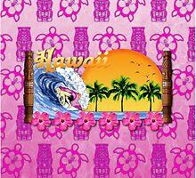 Hawaiian Surfing Pink Tiki by BailoutIsland