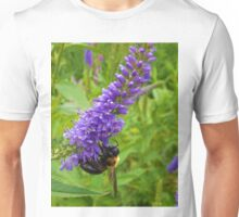 Honey Bee on Purple Flowers  Unisex T-Shirt