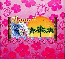 Hawaiian Surfing Pink Honu by BailoutIsland