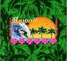 Hawaiian Surfing Palms by BailoutIsland