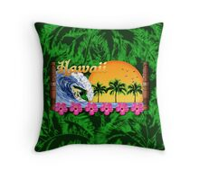 Hawaiian Surfing Palms Throw Pillow