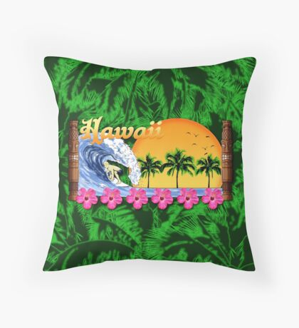 Hawaiian Surfing Palms Throw Pillow