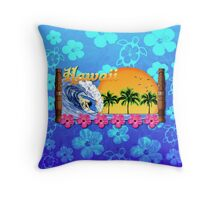 Hawaiian Surfing Blue Honu Throw Pillow
