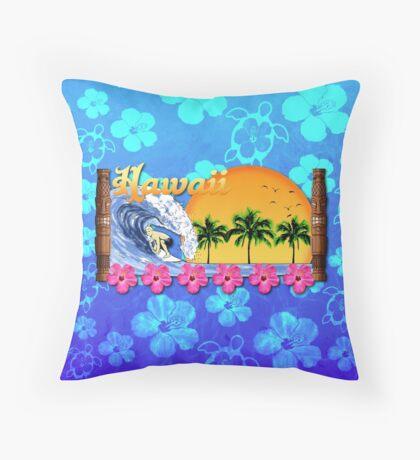 Hawaiian Surfing Blue Honu Throw Pillow