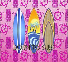 Born To Surf Pink Tiki by BailoutIsland