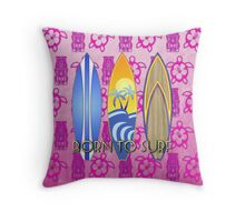 Born To Surf Pink Tiki Throw Pillow