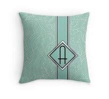 1920s Blue Deco Swing with Monogram letter A Throw Pillow