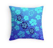 3 Hawaiian Honu And Hibiscus Throw Pillow