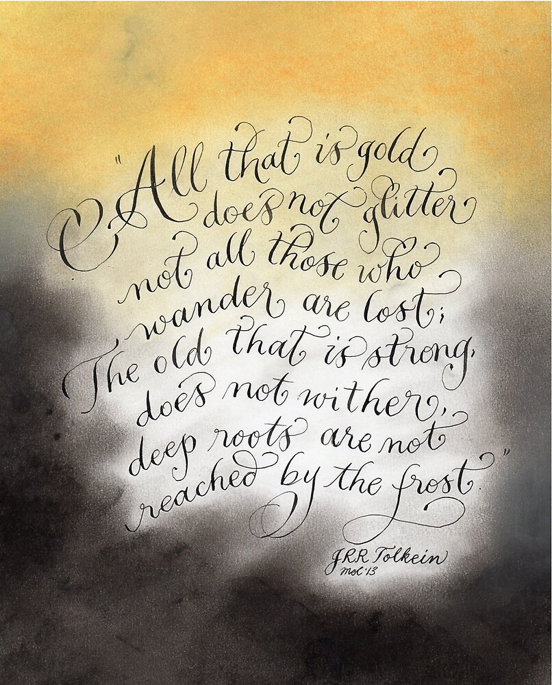All that glitters inspirational quote handwritten by Melissa Goza