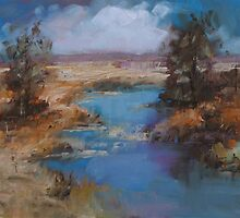 river up stream - late afternoon by Mick Kupresanin