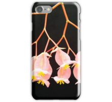 Pink Flowers on Black Background iPhone Case/Skin
