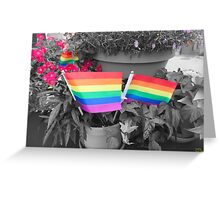 Rainbow Flags and Flowers Greeting Card