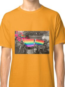 Rainbow Flags and Flowers Classic T-Shirt