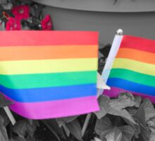 Rainbow Flags and Flowers Sticker