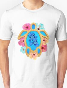 Blue Honu And Flowers T-Shirt