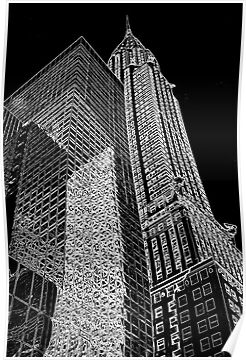 """""""Chrysler Building Outline"""" Posters by miketv 