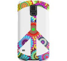 Cool Retro Flowers Peace Sign - T-Shirt and Stickers Samsung Galaxy Case/Skin