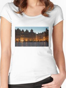 Brussels - Grand Place Facades Golden Glow Women's Fitted Scoop T-Shirt