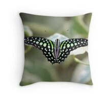 Green and black butterfly Throw Pillow