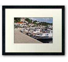 Boats at Brela, Croatia Framed Print