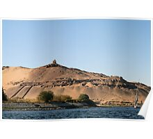 Temple on banks of River Nile Poster