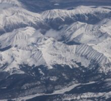 Flying Over the Snow Covered Rocky Mountains Sticker