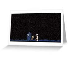 Calvin and Hobbes meets Police Box Stary Night Greeting Card