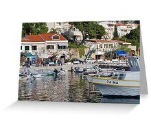 Brela harbour boats, Croatia Greeting Card