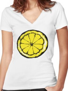 Lemon in the style of stone roses Women's Fitted V-Neck T-Shirt