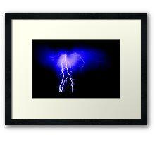 Blue lightning with ripple pattern Framed Print