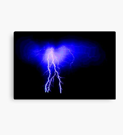 Blue lightning with ripple pattern Canvas Print