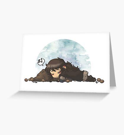 Sleeping on walnuts Greeting Card